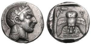 アッティカ アテネ デカドラクマ銀貨