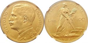 「1912年 イタリア ヴィットーリオ・エマヌエーレ3世 100リレ金貨」